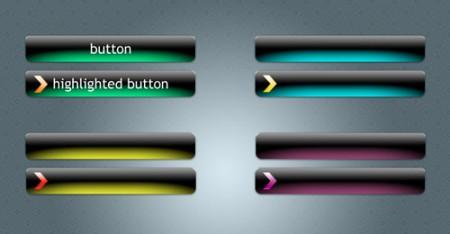 Темные кнопки с неоновой подсветкой