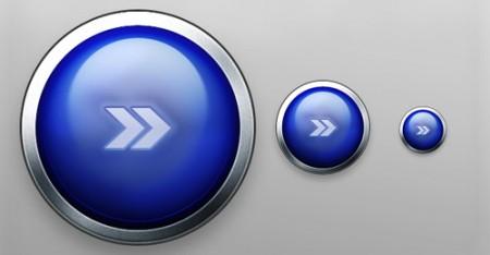 Блестящая синяя кнопка с металлической окантовкой