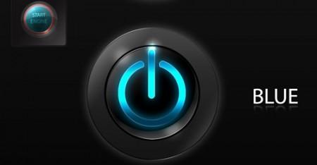 Темная кнопка с неоновой посветкой